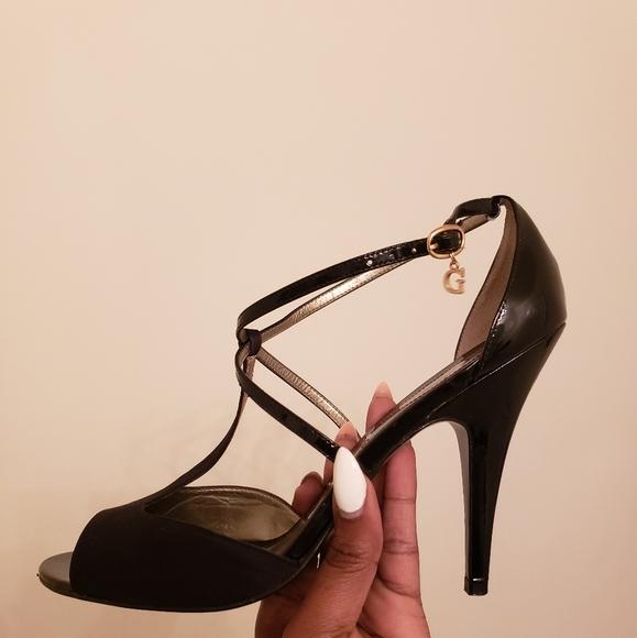 guess black sandal heels